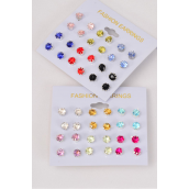 Earrings 12 pair Color Studs Mix/DZ **Post** 6 Pastel & 6 Multi Mix,Earring Card & OPP bag & UPC code,each card has 12pair earrings,12card=Dozen -