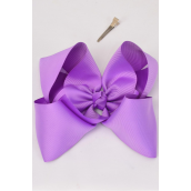 "Hair Bow Extra Jumbo Cheer Type Bow Alligator Clip Grosgrain Fabric Bow-tie Lavender/DZ **Lavender** Size-8""x 7"" Wide,Alligator Clip,Clip Strip & UPC Code"
