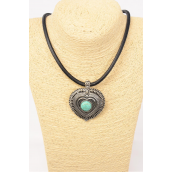 """Necklace Thick Black Leather Cord w Heart Pendant W Semiprecious Stone/PC Pendant Size-2.5""""x 2"""" Wide,20"""" Long,Extension Chain,Display Card & OPP Bag & UPC Code -"""