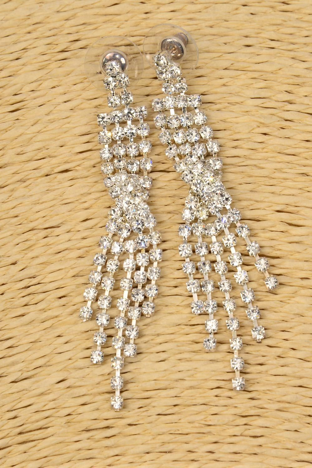 "Earring Boutique Silver Rhinestone Drops Post/PC **Post** Size-2.75"" Long,Earring Card & OPP Bag & UPC Code"
