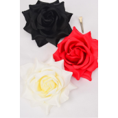 "Flower Silk Tea-Rose Large Red Beige Black Mix/DZ Size-5"",Alligator Clip & Brooch,4 Red,4 Beige,4 Black,4 of each Color Asst,Hang Tag & UPC Code,W Clear Box"