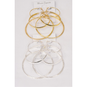 "Earrings 3 pair Metal Hoop Mix Size fancy Loops G/S/DZ **Post** Size-1.5"" 2.25"" 2.75"" Wide,3 Size Mix,6 Gold & 6 Silver Mix,Earring Card & Opp bag & UPC Code,each card has 3pair Earrings,12 Card= DZ"