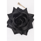 "Silk Tea-Rose Large Black/DZ **Black** Size-5"",Alligator Clip & Brooch,,Hang Tagd & UPC Code,W Clear Box"