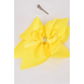 "Hair Bow Jumbo Cheer Bow Type Center Polkadots Bowtie Grosgrain Bow Baby Yellow/DZ **Baby Yellow** Alligator Clip,Size-8""x 7"" Wide,Clear Strip & UPC Code"
