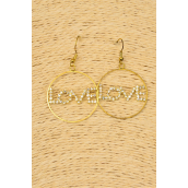 "Earring Boutique Gold Circle Rhinestone Love /PC **Fish Hook** Size-1.25"" Wide,Velvet Earring Card & Opp Bag & UPC Code"