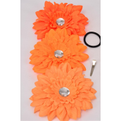 "Gerber Daisy Large Life Like Alligator Clip Orange Mix/DZ **Orange Mix** Size-6"" Wide,Alligator Clip & Brooch,4 of each Color Asst,Display Card & UPC Code,W Clear Box"