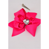 "Hair Bow Jumbo Center Clear Heart Fuchsia Grosgrain Bowtie/DZ **Fuchsia** Alligator Clip, Bow-6""x 6"" Wide,Clip Strip & UPC Code"