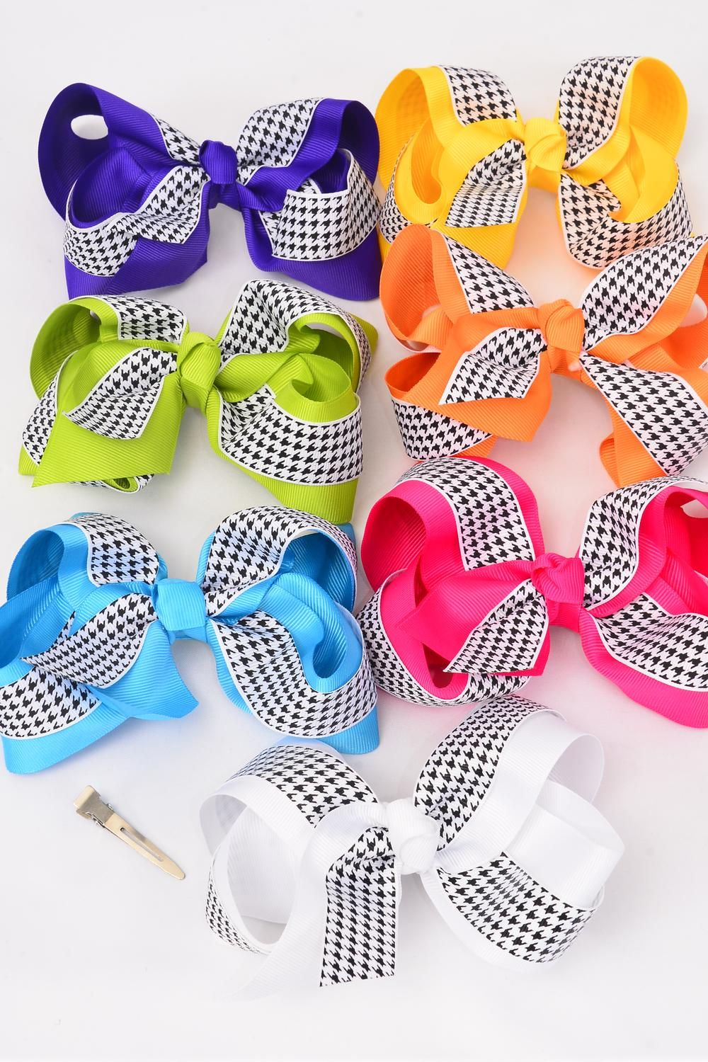 "Hair Bow Jumbo Houndtooth Double Layered Grosgrain Bow-tie Citrus/DZ **Citrus** Size-6""x 5"" Wide,Alligator Clip,2 Fuchsia,2 Blue,2 Yellow,2 Purple,2 White,1 Lime,1 Orange,7 Color Mix,Clip Strip & UPC Code"