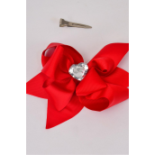"Hair Bow Jumbo Center Clear Heart Red Grosgrain Bowtie/DZ **Red** Alligator Clip, Bow-6""x 6"" Wide,Clip Strip & UPC Code"