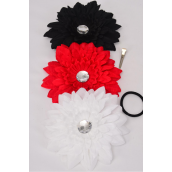 "Gerber Daisy Large Life Like Alligator Clip Red Beige Black Mix/DZ Size-6"" Wide,Alligator Clip & Brooch,4 Red,4 White,4 Black Mix,Display Card & UPC Code,W Clear Box"