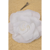 "Silk Flower Large Tea Rose Alligator Clip White/DZ **White** Size-5.5"",Alligator Clip & Elastic Pony & Brooch,Display Card & UPC code,W Clear Box"