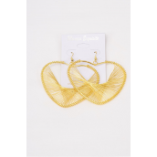 """Earrings Heart Gold/DZ **Fish Hook** Size-2""""x 2.25"""" wide,Earring Card & OPP bag & UPC code,Choose Gold Or Silver Finish -"""