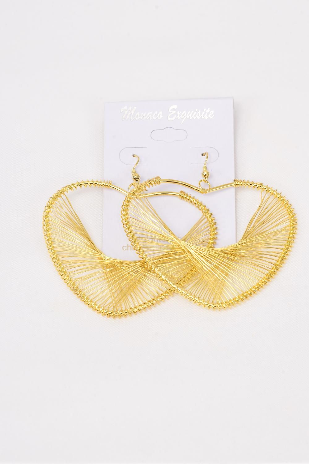"Earrings Heart Gold/DZ **Fish Hook** Size-2""x 2.25"" wide,Earring Card & OPP bag & UPC code,Choose Gold Or Silver Finish -"