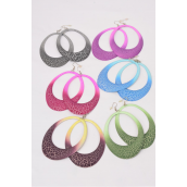 "Earrings Metal Oval Color Asst/DZ **Fish Hook** Size-3.5""x 2.5"" Wide,2 of each Color Asst,Earring Card & OPP bag & UPC code -"