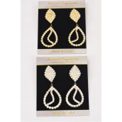 "Earrings Boutique Rhinestone Teardrop Post/PC **Post** Size-2.5""x 1"" Wide,Choose Gold Or Silver Finishes,Black Velvet Earring Card & OPP Bag & UPC Code -"