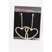 """Earring Boutique Rhinestone Heart Gold/PC Post,Size-2.5""""x 1.5"""" Wide,Black Velvet earring Card & OPP bag & UPC Code -"""