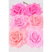 "Silk Flower Large Tea Rose Alligator Clip Pink Mix/DZ **Pink Mix** Size-5.5"" Wide,Alligator Clip & Elastic Pony & Brooch,2 of each Color Asst,Display Card & UPC code,W Clear Box"