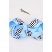 "Hair Bow Jumbo Houndtooth Double Layer Grosgrain Bow-tie Baby Blue/DZ **Baby Blue** Size-6""x 5"" Wide,Alligator Clip,Clip Strip & UPC Code"