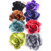 "Silk Flower Rose Mesh Black Lace Dark Multi Alligator Clip/DZ **Dark Multi** Size-5"" Wide,Alligator Clip & Pin,2 Black,2 Brown,2 Red,2 Teal Blue,1 Gray,1 Purple,1 Blue,1 Green,8 Color Mix,W Ha -"