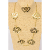 "Necklace Sets Gold 32 inch Chain Filigree Hearts/DZ **Post** 32"" Long,Hang Tag & OPP Bag & UPC Code"