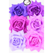 """Silk Flower Large Tea Rose Special Fabric Alligator Clip Purple Mix/DZ **Purple Mix** Size-5.5"""" Wide, Alligator Clip & Elastic Pony & Brooch,2 of each Color Asst,Display Card & UPC code,W Clear Box"""