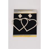 "Earrings Boutique Silver Clear Rhinestone Hearts/PC **Post** Size-1.75""x 1.5"" Wide, Velvet Earring Card & Opp Bag & UPC Code -"