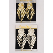 "Earrings Boutique Heart Cluster W Drops Post/PC **Post** Size-3""x 1.25""Wide,Choose Gold Or Silver Finish,BlackVelvet Earring Card & OPP Bag & UPC Code -"
