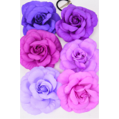 """Silk Flower Large Rose Purple Mix Alligator Clip/DZ **Purple Mix** Size-5.5"""" Wide, Alligator Clip & Elastic Pony & Brooch,2 of each Color Asst,Display Card & UPC code,W Clear Box -"""