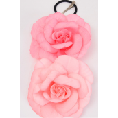 "Silk Flower Large Rose Peach Mix Alligator Clip/DZ **Peach Mix** Size-5.5"" Wide, Alligator Clip & Elastic Pony & Brooch,6 of each each Color Asst,Display Card & UPC Code,W Clear Box -"