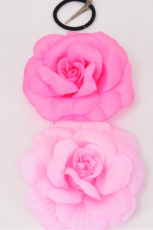 Silk Flower Large Rose Hot Pink Mix Alligator Clipdz Hot Pink Mix