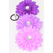 "Gerber Daisy Large Life Like Alligator Clip Purple Mix/DZ **Purple Mix** Size-6"" Wide,4 of each color Asst,Alligator Clip & Brooch,Display Card & UPC Code,W Clear Box"