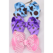 "Hair Bow Jumbo Pink Blue Lavender  Polkadots Mix Grosgrain Fabric Bow-tie/DZ **Alligator Clip** Size-6""x 5"" Wide,4 of each Color Mix,Clip Strip & UPC Code"