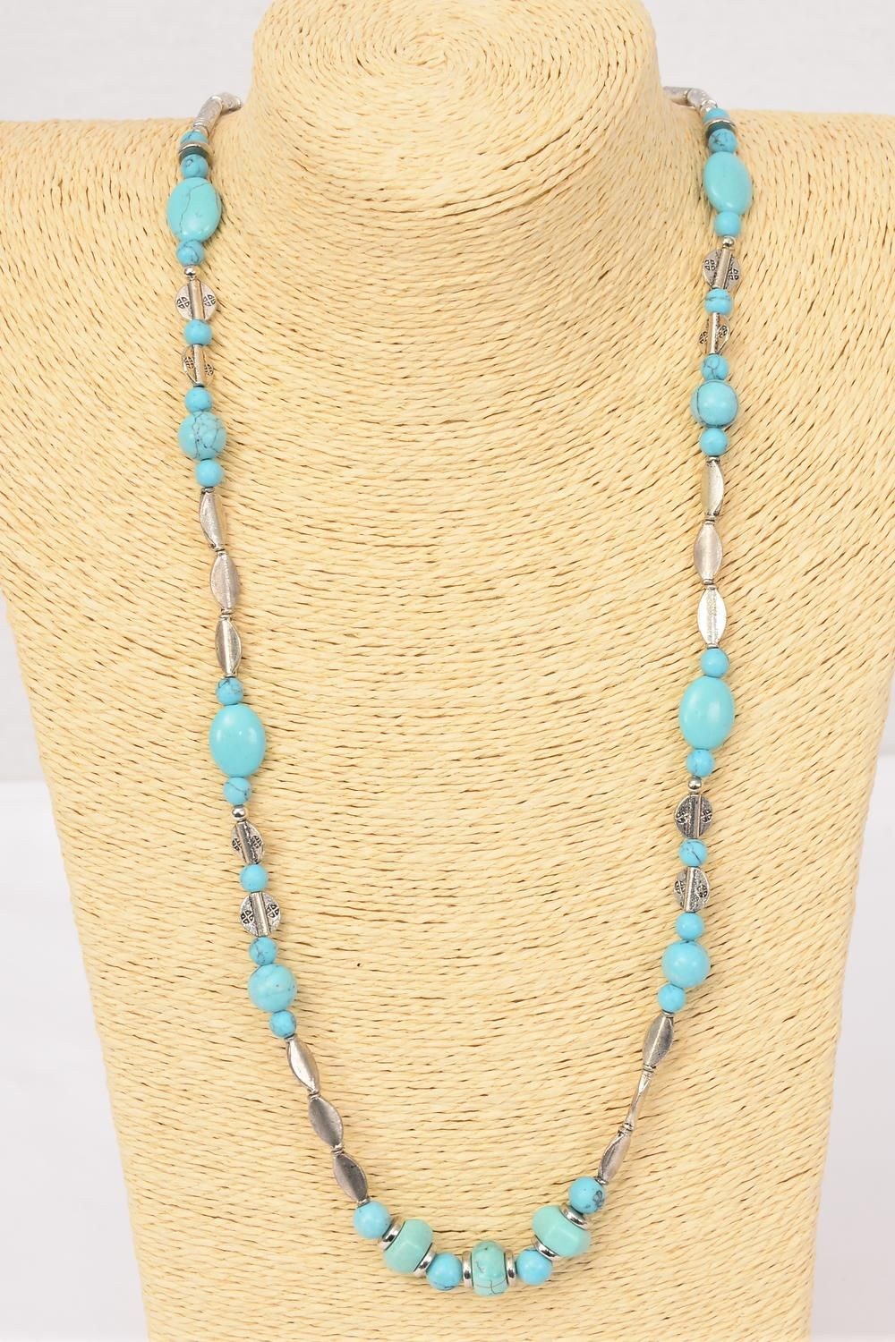 "Necklace Silver Turquoise Semiprecious Stones/PC Size-32"" Long, Hang tag & Opp Bag & UPC Code"