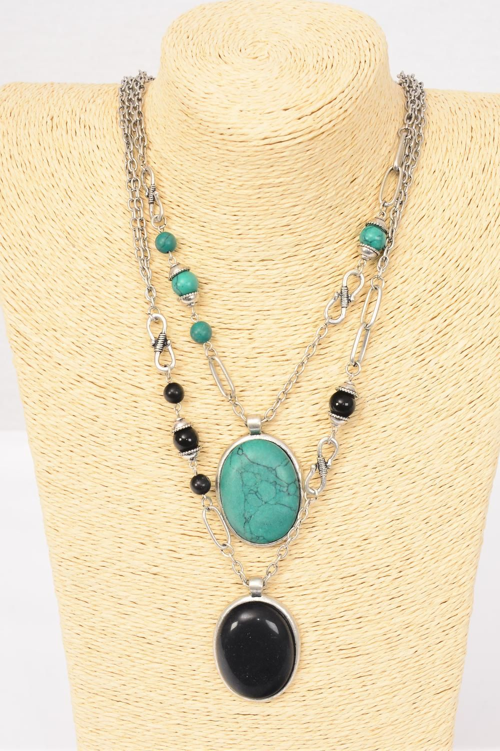 "Necklace Fancy Chain Semiprecious Stone & Pendant/PC Pendant Size-1.75""x 1.25"" Wide,30"" Long,Display Card & OPP Bag & UPC Code,Choose Colors"