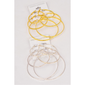 "Earrings 3 Pair Metal Hoop Mix Design/DZ **Post** Size-1.75"" 2"" 2.5"" Mix,Choose Gold Or Silver Finish,Earring Card & OPP Bag & UPC Code"