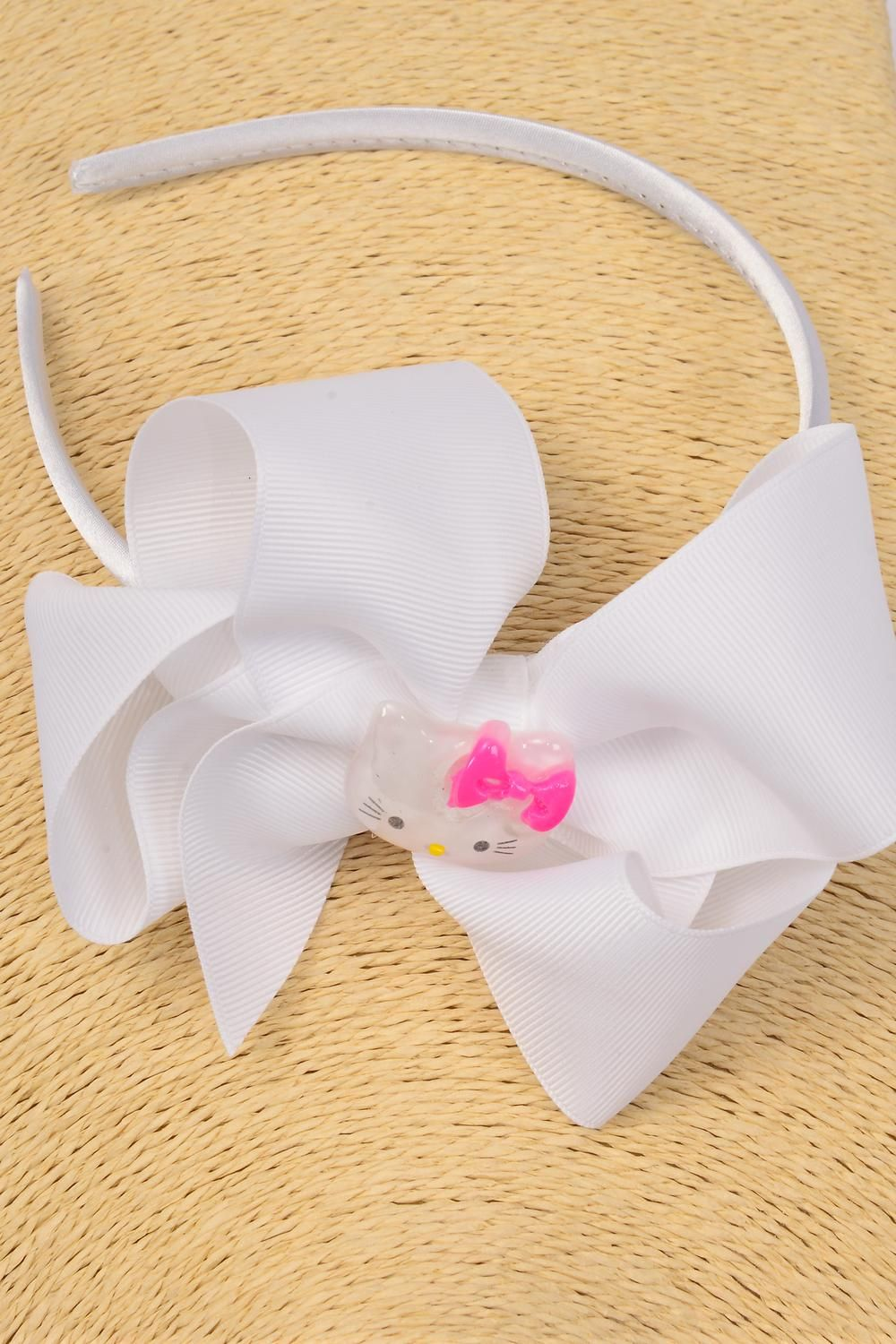 "Headband Horseshoe Jumbo Cat Poly Grosgrain Bow-tie White/DZ **White** Size-6""x 5"" Wide,Display Card & UPC Code,Clear Box"