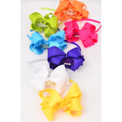 "Headband Horseshoe Jumbo Tiara Pearl Double Layer Grosgrain Bow-tie Citrus/DZ **Citrus** Bow Size-6""x 6"",2 White,2 Fuchsia,2 Purple,2 Blue,2 Yellow,1 Lime,1 Orange,7 Color Asst,Hang Tag & UPC Code,W Clear Box"