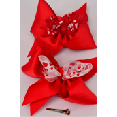 "Hair Bow Extra Jumbo Satin Hearts Grosgrain Bow-tie/DZ **Alligator Clip** Size-7""x 6"" Wide,6 of each Color Asst,Clear Strip & UPC Code"
