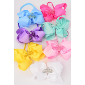 """Elastic Headband Jumbo Tiara Double Layer Bow Pastel Grosgrain Bow tie/DZ **Pastel** Elastic,Size-6""""x 6"""" Wide,2 Baby Pink,2 White,2 Yellow,2 Blue,2 Lavender,1 Hot Pink,1 Green 7 Color Asst,Hang Tag & UPC Code,Clear Box"""