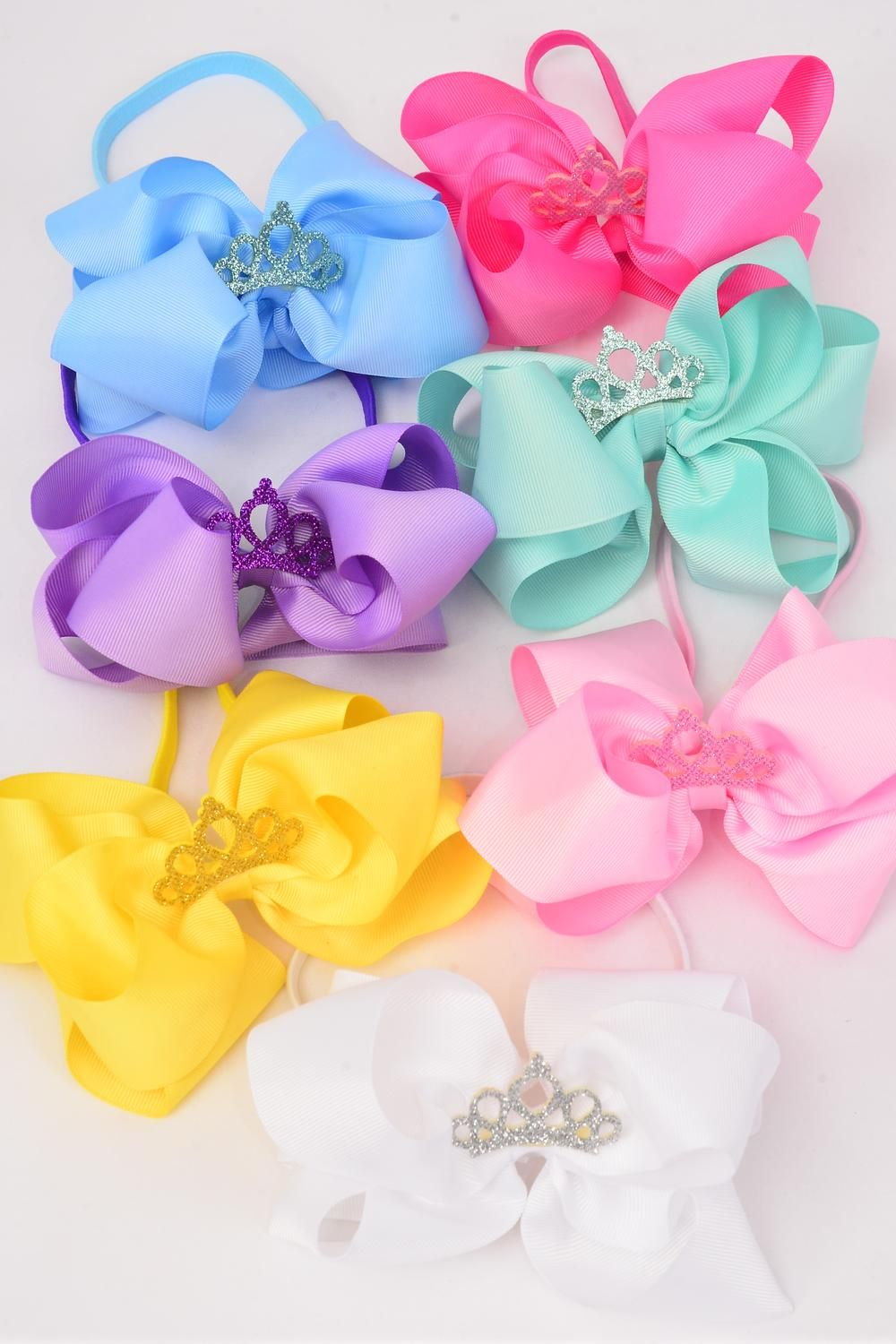 "Elastic Headband Jumbo Tiara Double Layer Bow Pastel Grosgrain Bow tie/DZ **Pastel** Elastic,Size-6""x 6"" Wide,2 Baby Pink,2 White,2 Yellow,2 Blue,2 Lavender,1 Hot Pink,1 Green 7 Color Asst,Hang Tag & UPC Code,Clear Box"