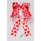 "Hair Bow Extra Jumbo Long Tail Alligator Clip Grosgrain Bow-tie Satin Heart Print/DZ **Alligator Clip** Size-6.5""x 6"" Wide,8 Red,4 White,Clear Strip & UPC Code"
