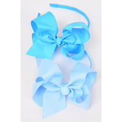 "Headband Horseshoe Grosgrain Bow-tie Blue Mix/DZ **Blue Mix** Bow Size-6""x 5"" Wide,6 of each Color Asst,Hang Tag & UPC Code,W Clear Box"