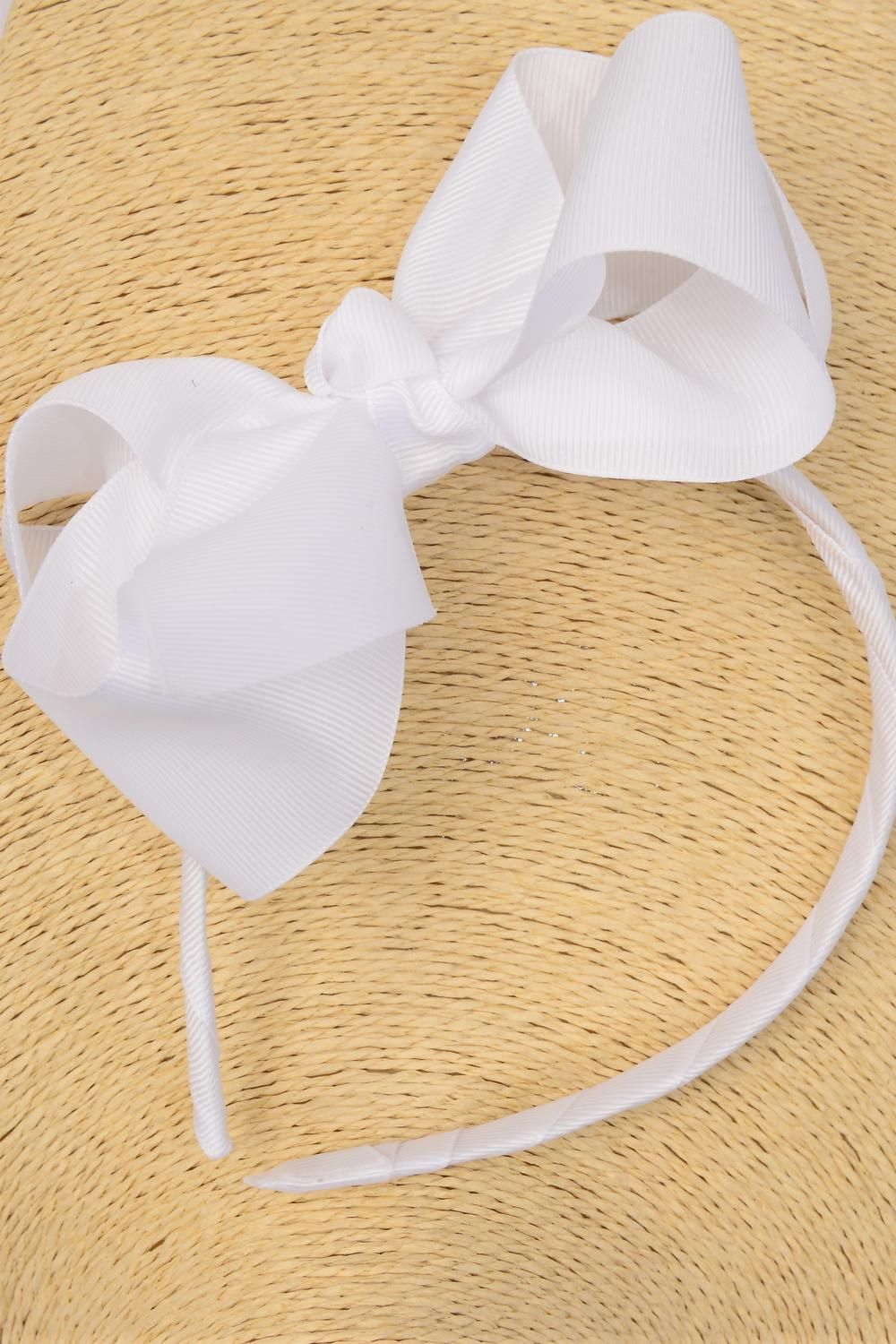"Headband Horseshoe Grosgrain Bow-tie White/DZ **White** Bow Size-6""x 5"",Hang Tag & UPC Code,W Clear Box"