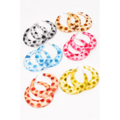 "Earrings Acrylic Spotted Color Asst/DZ **Multi** Post,Size-2.25"" Wide,2 of each Color Asst,Earring Card & OPP Bag & UPC Code"