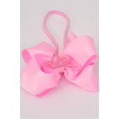 "Elastic Headband Jumbo Tiara Double Layer Bow Baby Pink Grosgrain Bow tie/DZ **Baby Pink** Elastic,Size-6""x 6"" Wide,,Hang Tag & UPC Code,Clear Box"