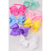 "Headband Horseshoe Jumbo Grosgrain Bow-tie Pastel/DZ **Pastel** Bow Size-6""x 5"" Wide,2 White,2 Pink,2 Yellow,2 Lavender,2 Blue,1 Hot Pink,1 Mint Green,7 Color Mix,Display Card & UPC Code,Clear Box"