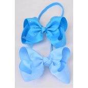 "Elastic Headband Jumbo Bow AB Clear Stone All Around Grosgrain Bowtie Blue Mix/DZ **Blue Mix** Size-6""x 5"" Wide,6 of each Color Asst,Hang Tag & UPC Code,Clear Box"