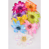 "Headband Satin Large Sequin Flower/DZ Flower-5"" Wide,2 Pink,2 Blue,2 Purple,2 Fuchsia,1 Orange,1 Lime,1 Yellow,1 White,8 Color Asst,Hang tag & UPC code,W Clear Box -"