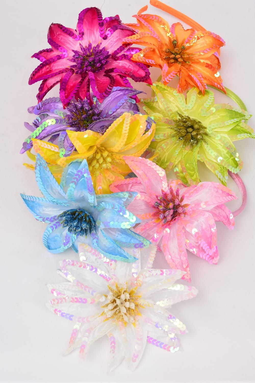 "Headband Horseshoe Satin Large Sequin Flower/DZ Flower-5"" Wide,2 Pink,2 Blue,2 Purple,2 Fuchsia,1 Orange,1 Lime,1 Yellow,1 White,8 Color Asst,Hang tag & UPC code,W Clear Box -"