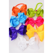 "Elastic Headband Jumbo Bow AB Clear Stone All Around Citrus Grosgrain Bowtie/DZ **Citrus** Size-6""x 5"" Wide,2 Fuchsia,2 Blue,2 Yellow,2 Purple,2 White,1 Lime,1 Orange,7 Color Mix, Hang Tag & UPC Code,Clear BOx"